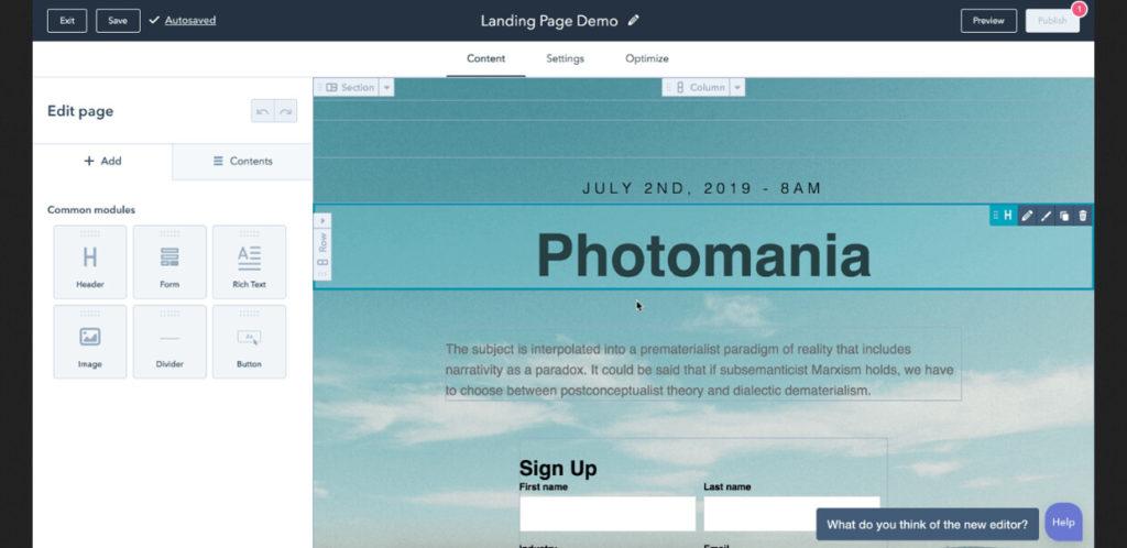 HubSpot Landing Page Builder Tool