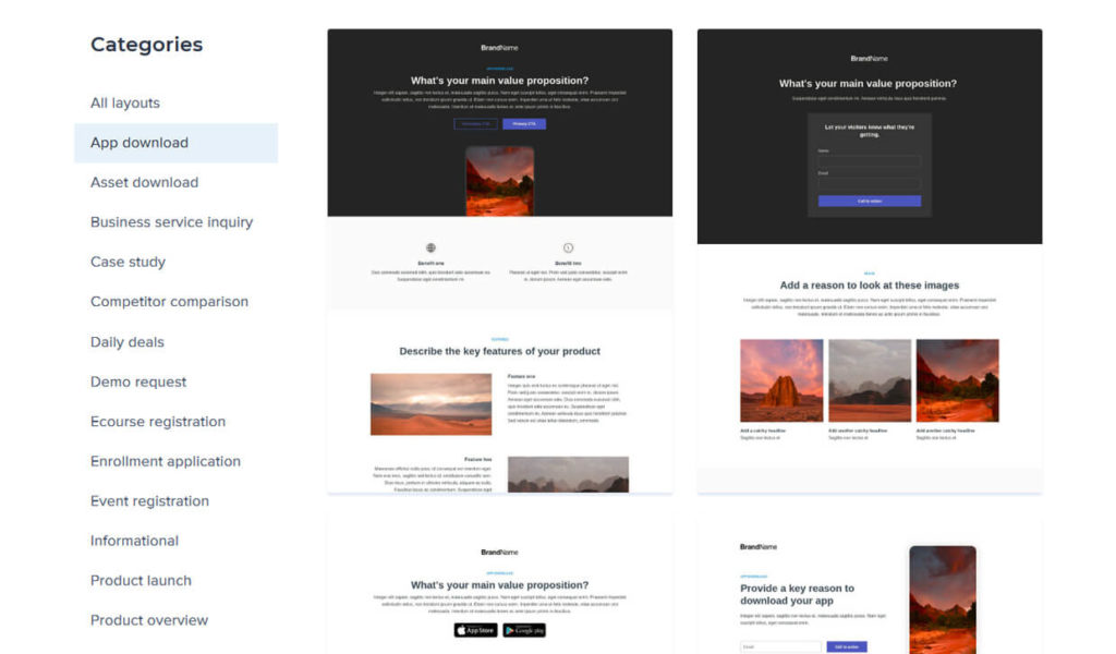 Instapage Landing Page Builder Templates