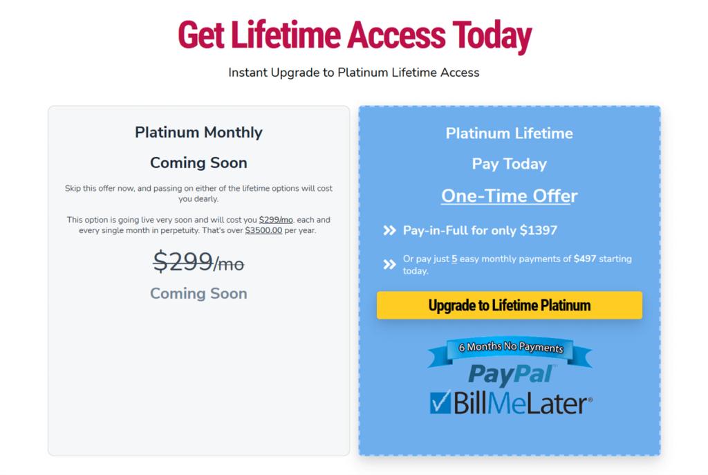 GrooveFunnels Pricing Platinum Lifetime Offer