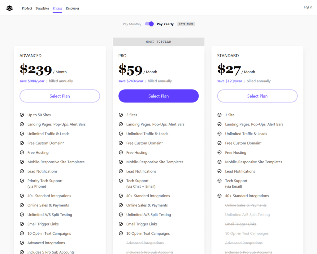 Leadpages Pricing Plans