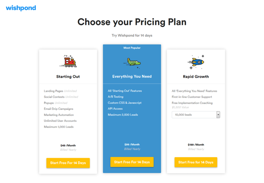 Wishpond Pricing Plans