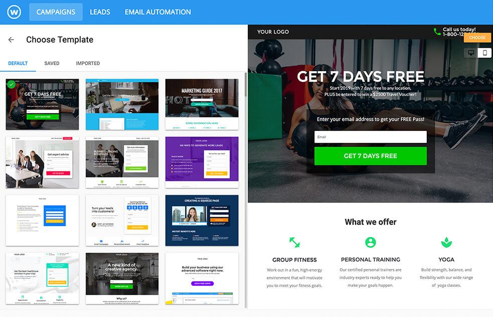 Wishpond Sales Funnel Builder Software Templates