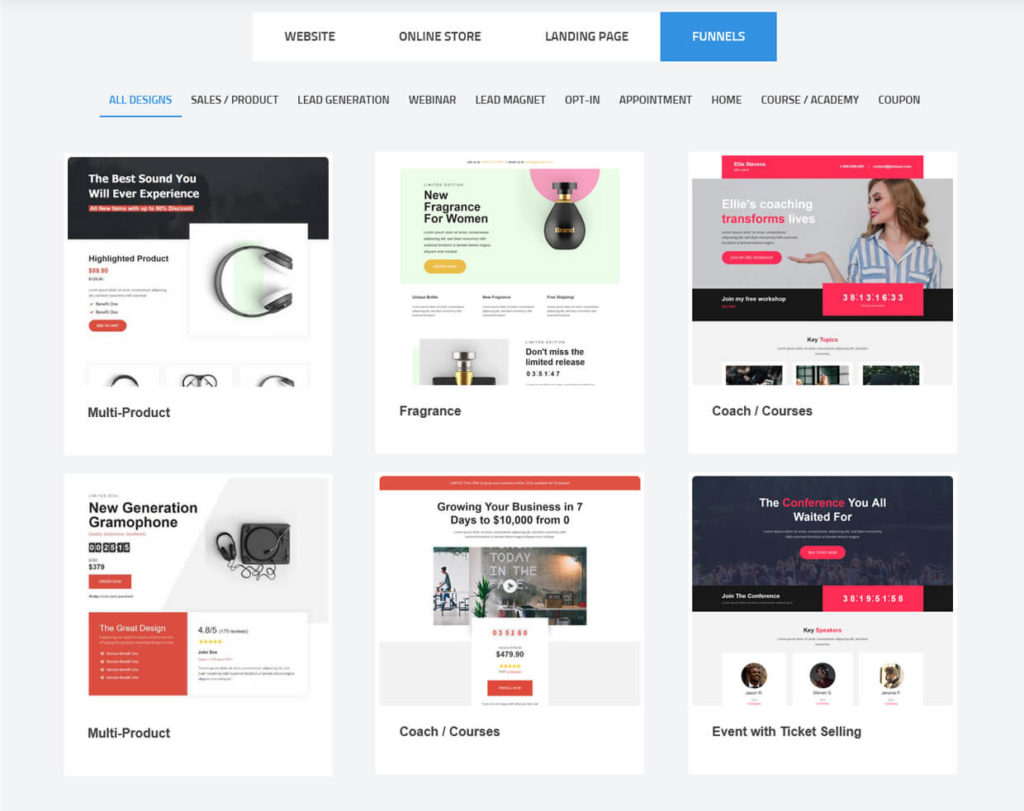 Simvoly Sales Funnel Templates