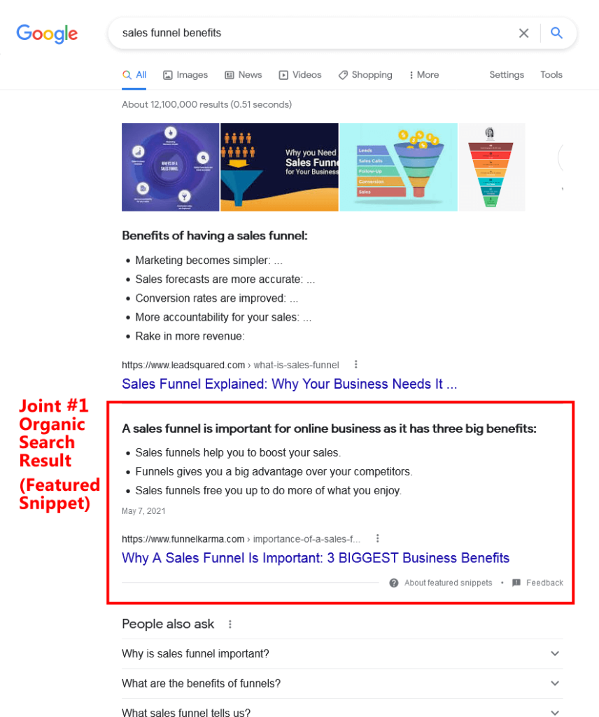 SEO Training Sales Funnel Benefits Snippet