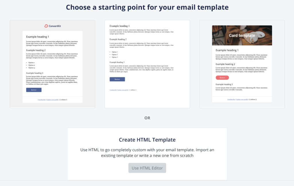 Email Marketing Templates ConvertKit